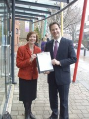 Bridget with Nick Clegg at New North Community School
