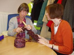 Bridget joins in with 'giant knitting' on Older People's Day