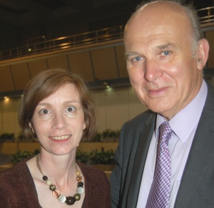 Bridget Fox and Vince Cable